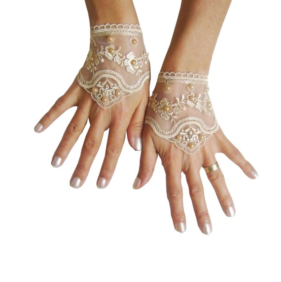 Light beige, Black, white, ivory,  pink, Wedding gloves bridal gloves  fingerless lace  gloves beaded pearl  and rhinestone  262