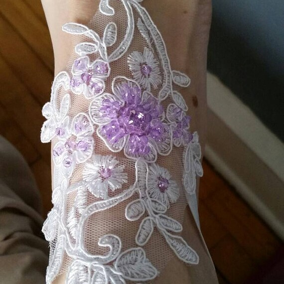 bridal anklet ivory or white lilac beads Beach wedding barefoot sandals summerfeets  syringa mauve lavender