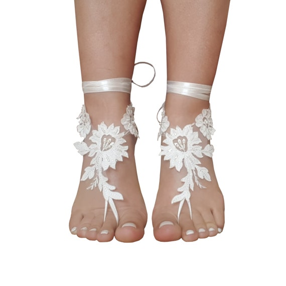 a6d992e99 ... ivory beach wedding barefoot sandals lace wedding shoes bridal anklet  boho wedding accesory wedding foot foot