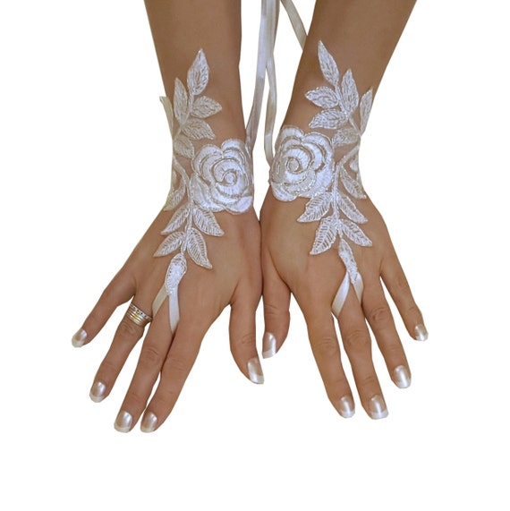 Bridal Glove, ivory, silver-embroidered lace gloves, Fingerless Gloves, cuff wedding bride, bridal gloves, ivory,