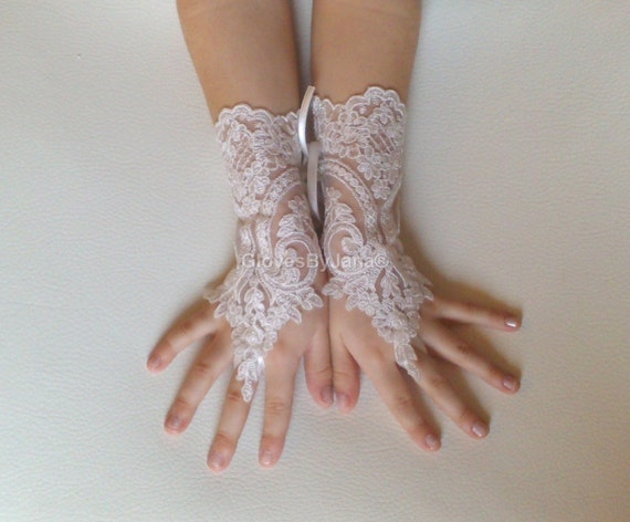 Flower girl ivory lace gloves wedding bridal gloves french lace for princess wedding gloves lace