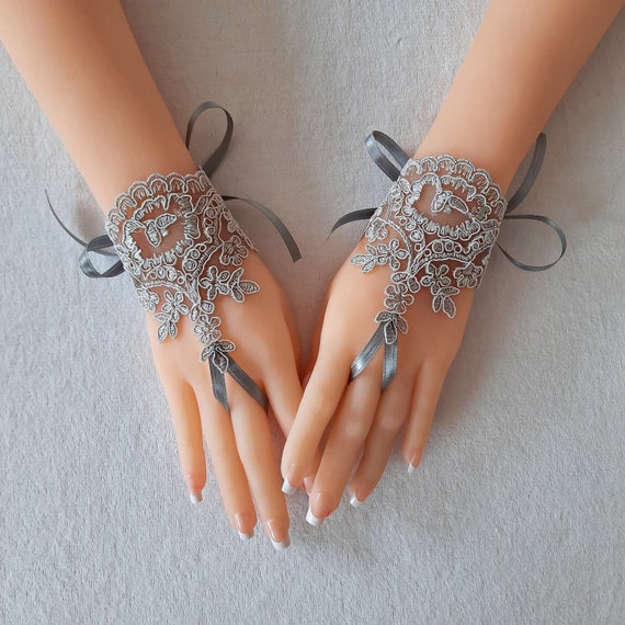 Gothic lace grey gray  Lolita gloves bridal gloves fingerless gloves french lace   gift tea party  bridal accessory party cuff wrist