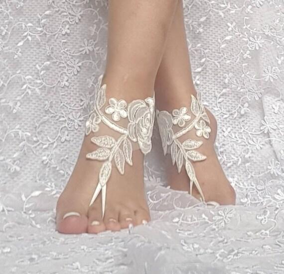 4680f0b89982f6 Ivory Beach wedding barefoot sandals wedding shoe prom party