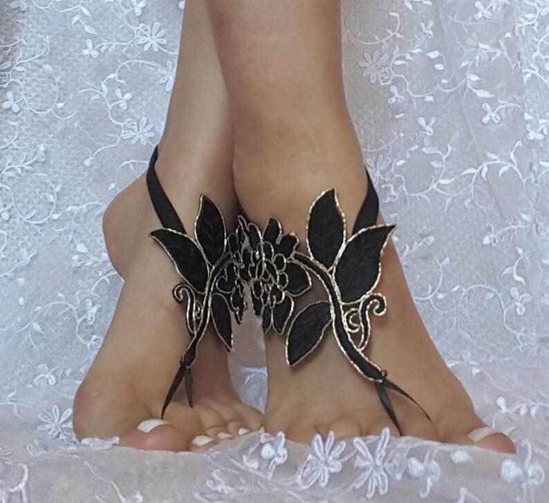 1a9497efac0a8 Black gold beach shoes Unique design lariat sandals wedding