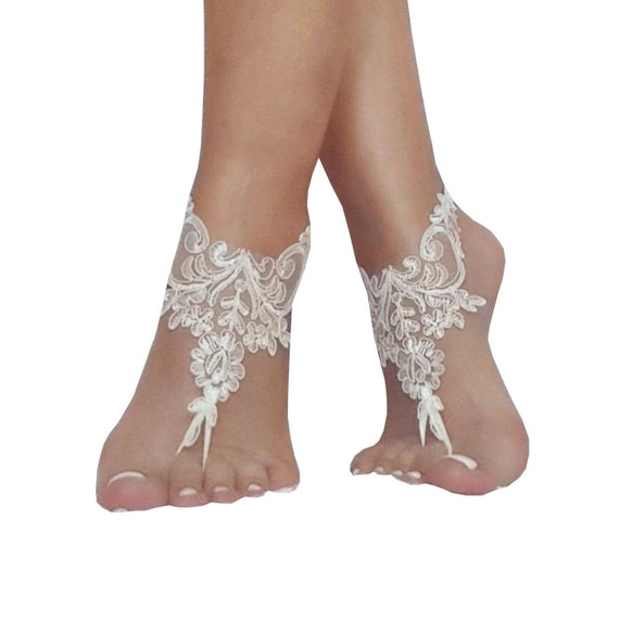 11 color lace barefoot sandals, bridal barefoot sandals, beach wedding bangle, beach wedding anklet, bridesmaid gift, lace sandals, bridal