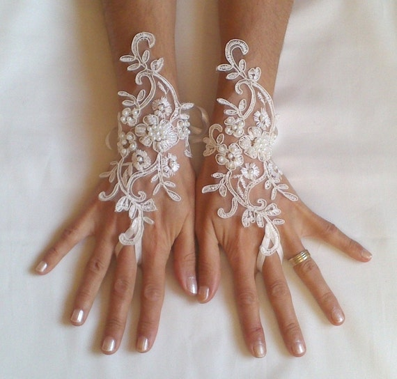 Wedding gloves beaded pearls white or ivory lilac bridal gloves lace gloves fingerless gloves french lace gloves  lavender