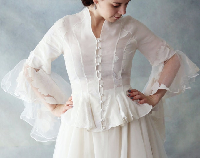 SALE-High Quality Long Sleeve Light Bridal Jacket featuring Pure Silk Liner Available in Ivory-White, Wedding Dress Top