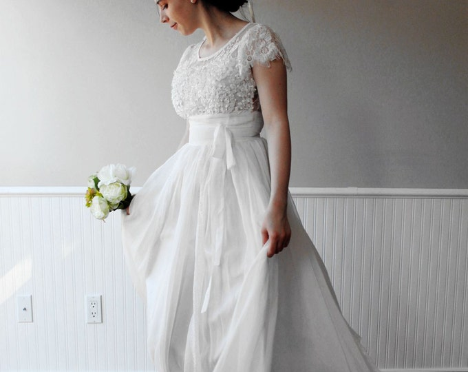 CLEARANCE - Custom made Simple Boho White Lace Wedding Dress great for Beach Wedding