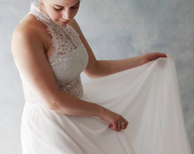 Custom Floor length Soft Lace Sheer Top Wedding Dress with High Halter Neck Collar. Perfect for Beach Boho Wedding - AM 198420789