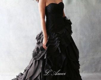 Black Gothic Style black Wedding Bridal Dress Ball Gown , organza flower ballgown  - YS19110078