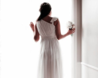 258a226e8b8 CLEARANCE - Ivory White One shoulder Ankle length U-shaped Hollow Cut Sexy  Long Chiffon Prom Wedding Bridal Honeymoon Dress