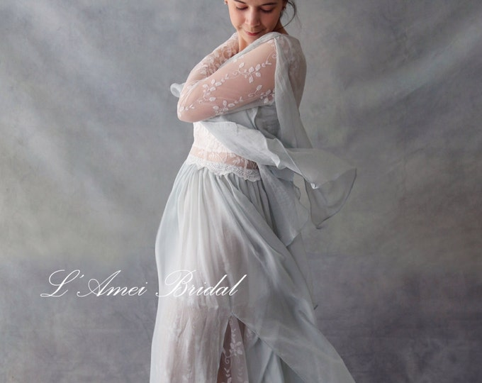 CLEARANCE - Miss Butterfly Ivory White Embroidered Lace Covered by a Light Mint Silk Chiffon with Unique Petal Skirt and Shawl - L'Amei 2017