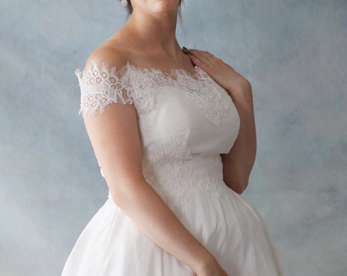 Amazing Off Shoulder Cap Sleeve French Lace Wedding Bolero Top Jacket-L'Amei
