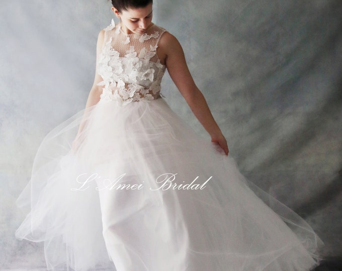 Affordable Long White Butterfly Lace Wedding Dress ,Beach wedding Bridal Gown . See through Top Sexy wedding dress, Also good for a Prom