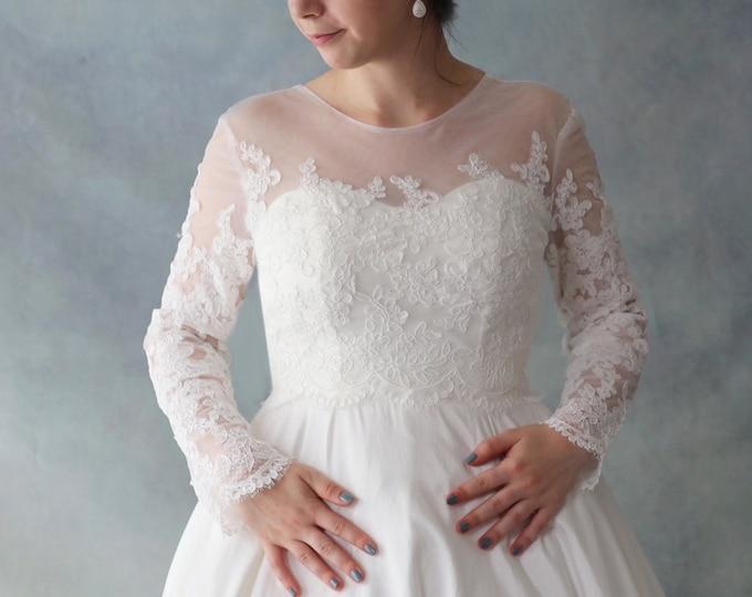Ivory white Long sleeve French Lace Wedding Bolero Bridal Jacket