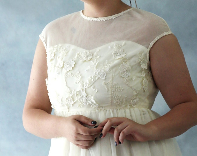 CLEARANCE - Very Bohemian Ivory Cream Chiffon and Lace Fairy Wedding or Bridesmaid Dress with High Waist -L'Amei Bridal