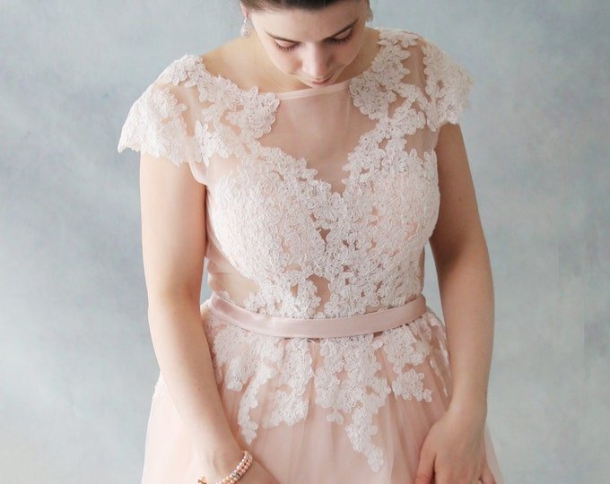 SALE-Rose Tea -Short Knee Length Blush Lace Wedding Dress with Cap Sleeves. - AM1982985