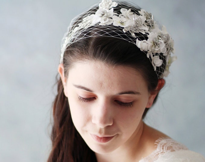 Wedding Hair Band with Small White Flowers Accented with Bling. Satin Ribbon White Lace Bridal Headband