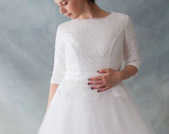 Long Lace Sleeve Wedding Dress with Stunning lace full Back and Tulle Skirts