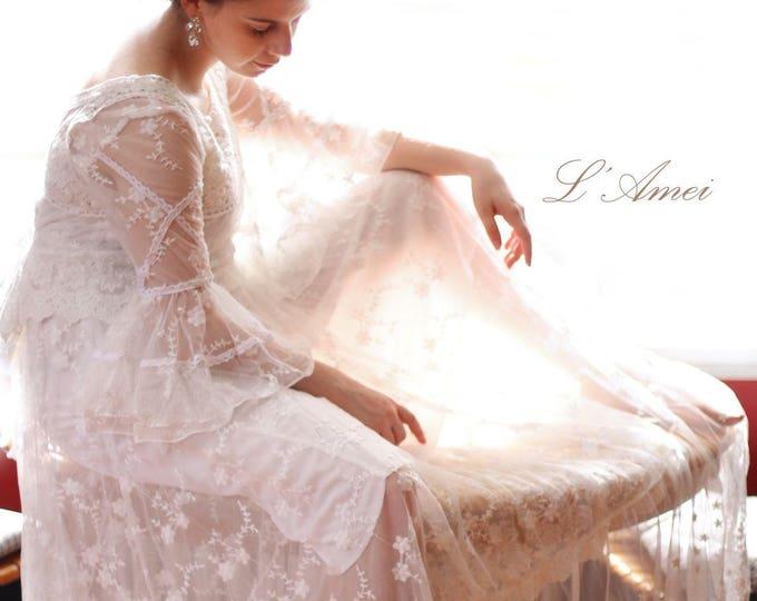 CLEARANCE - Custom Made Vintage Style Floor length scoop neckline Long Sleeve Lace Wedding Dress Gown for Boho woodland Wedding dress