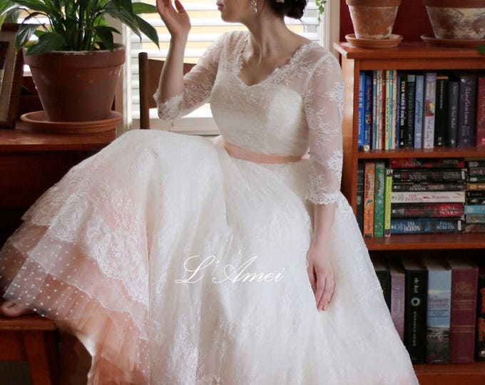 Custom Made Soft Lace Classical Blush Wedding Gown with V Neckline and Stylish Polka Dots