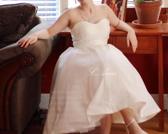 Short Wedding Cocktail or Prom Dress made from Taffeta- Tea length Short Wedding gown
