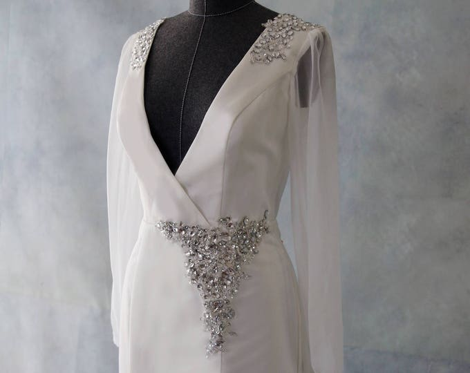 CLEARANCE - Custom Romantic Design Fitted Wedding Bridal Gown with Long Sleeves and Deep V Neck Truly a Spectacular Dress