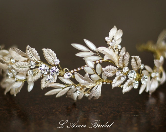 Sale Rustic Light Golden Tiara Circlet Bridal Wedding Crown made with Rhinestone Crystal Flowers and Copper Colour Leaf