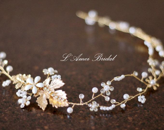 Wedding Hair Vine, Gold Flower and Leaf Bridal Headpiece, Wedding Hair Accessory, Grecian Hair Rustic Wedding Headband