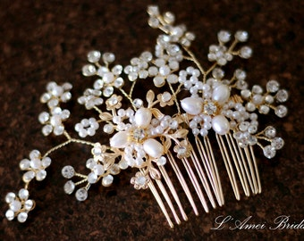 Pretty in golden Comb - Bridal Flower Hair Accessory - Bride Bridesmaid Flowergirl - Wedding Hair Comb Bridal Hair Comb Bridal Haircomb