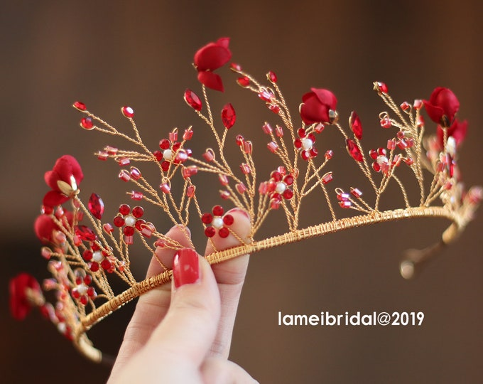 Gold wine Red Whimsical Flower Crown ,Princess Wedding Headband, Red Bridal hair vine ,Gold fairy Tiara , Prom Headpiece,Boho flower crown