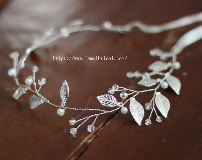 Vintage Style Silver White Leaf headband,Silver Bridal Crown , Leaf Wedding Hair vine Circlet adorned with Rhinestones and Glass Pearls