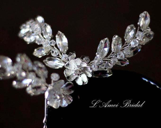 Bridal hair piece Wedding set of 3 pins. Silver Flower Hair vine comb.  Rhinestone hair pins. Crystal Wedding accessories. small flower pins