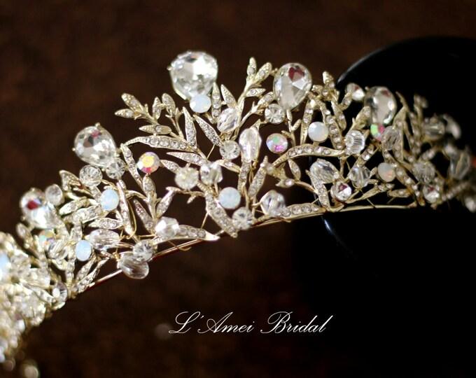 Woodland Princess Zirconia Crystal Wedding Tiara-MS98105- Zircon Rhinestone bridal Crown, Gold hair crown