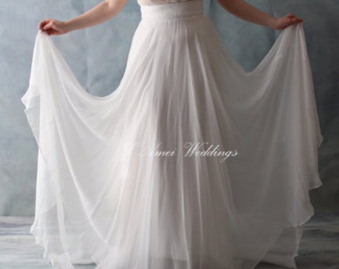 Skirt Only! Hand Made Rustic Ivory white Light long skirt , Vintage Chiffon Dream Floor Length wedding Skirt