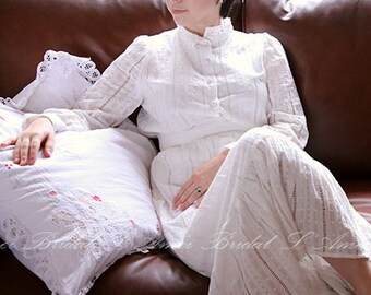 Lovely Handmade Vintage Style  White 2 Piece High Neck Embroidered Organic Cotton Wedding Dress - Elizabeth 2017