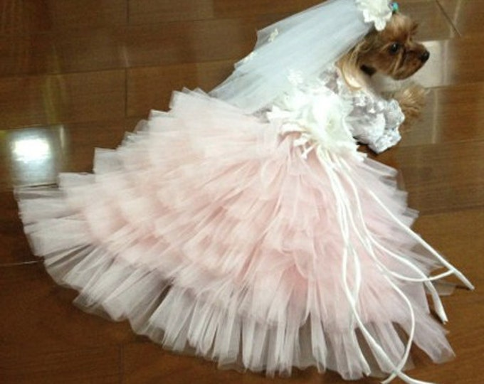 Custom Made Dog wedding dress made of soft pink tulle and Hand cut  flowers details
