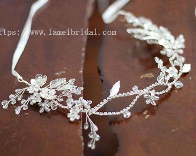 Silver Goddess Wedding hair vine, silver crystal leaf hair Crown,silver head Circlet ,silver Head Wreath with Leaves and Rhinestone-L'Amei
