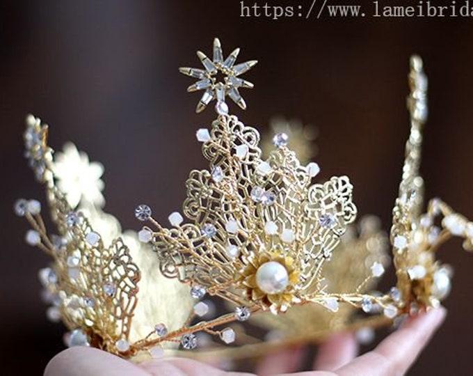Woodland Princess Gold Wedding hair crown , Gold leaf Crown , Gold bridal Tiara , Wedding crown, Gothic Tiara, Leaf Headband, Greek Crown