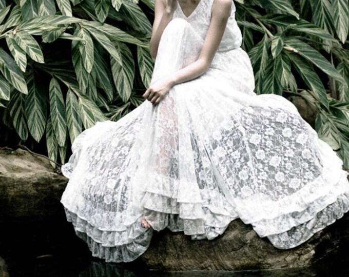 Handmade White Floor Length Wedding Bridal Dress Gown, Long Lace wedding dress for Beach and woodland wedding