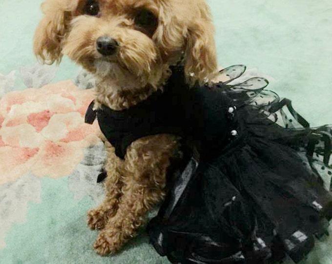 Custom Made Black Dog wedding dress made of tulle skirt   Polka Dot and small flowers  details