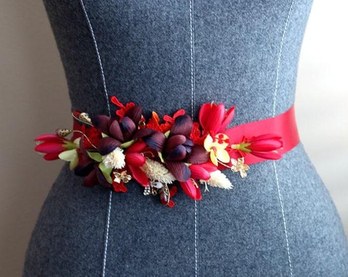 Special Design  Wine Red Flower Wedding Dress Sash, wine red Bridal Belt for Christmas Wedding, Red sash for black, red wedding prom dress