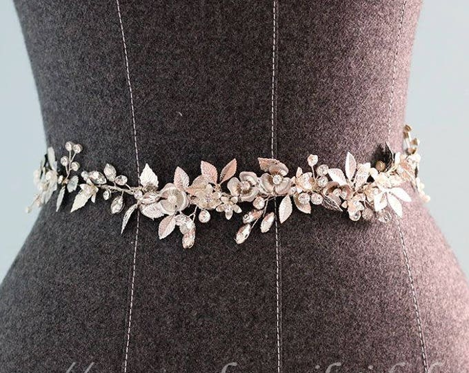 Hand made Rhinestone Crystal Bridal Wedding dress sash ,bridal sash belt  with Silver Color Leaves and crystal flower, Silver Leaf belt
