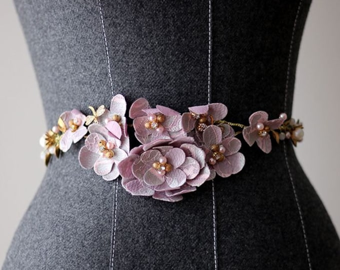 Rhinestones on Hand Cut Purple Fabric Flowers Adorning Bling Underlay Bridal Belt Wedding Sash, Blush wedding dress sash belt