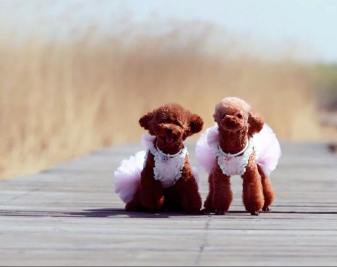 Custom Made Dog Wedding Dress made of Pink Tulle and Hand Cut  Flower Details