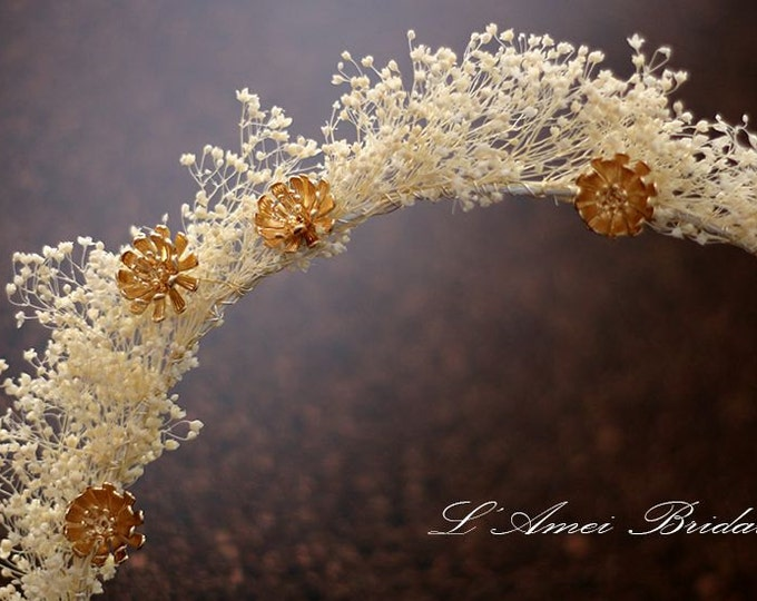 Natural Baby's breath flowers Wedding Bridal Crown Tiara Circlet Headpiece with Golden flower details, Gold hair vine
