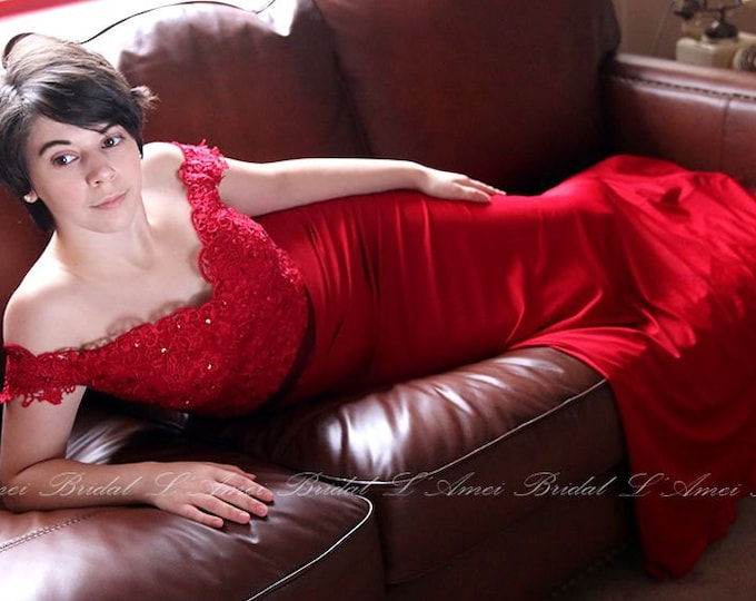 Custom Made Off Shoulder Red Mermaid Prom Dresses , Black Lace Party Dress , Prom or Bridesmaid Dress