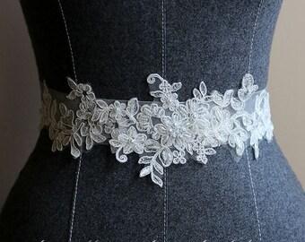 Ivory White Lace on a see through ribbon wedding dress sash belt ,lace Wedding Belt ,Lace Bridal Sash belt