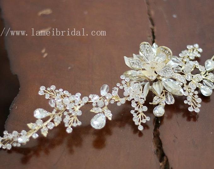 Wedding Headband,Floral Bridal Circlet white Small Wild Flower Wedding Crown ,Gold wedding Headpiece,Bridal head Accessory