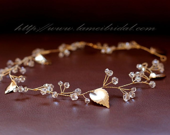 Golden Goddess Wedding Crown hair vine Circlet Wreath with Golden Leaves and Crystal Glass Elements
